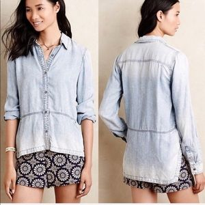Anthropologie Holding Horses Ombré Chambray Top 10
